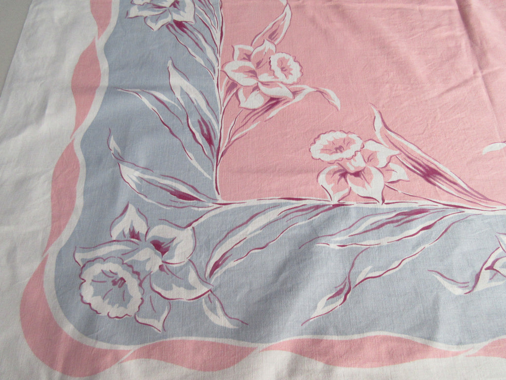 Daffodils on Pink Gray Floral Vintage Printed Tablecloth (52 X 45)