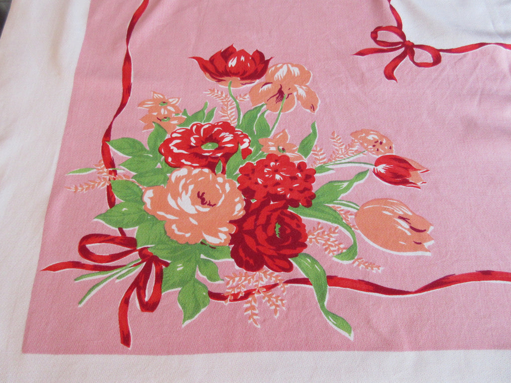 Bright Roses Tulips on Pink Floral Vintage Printed Tablecloth (53 X 46)