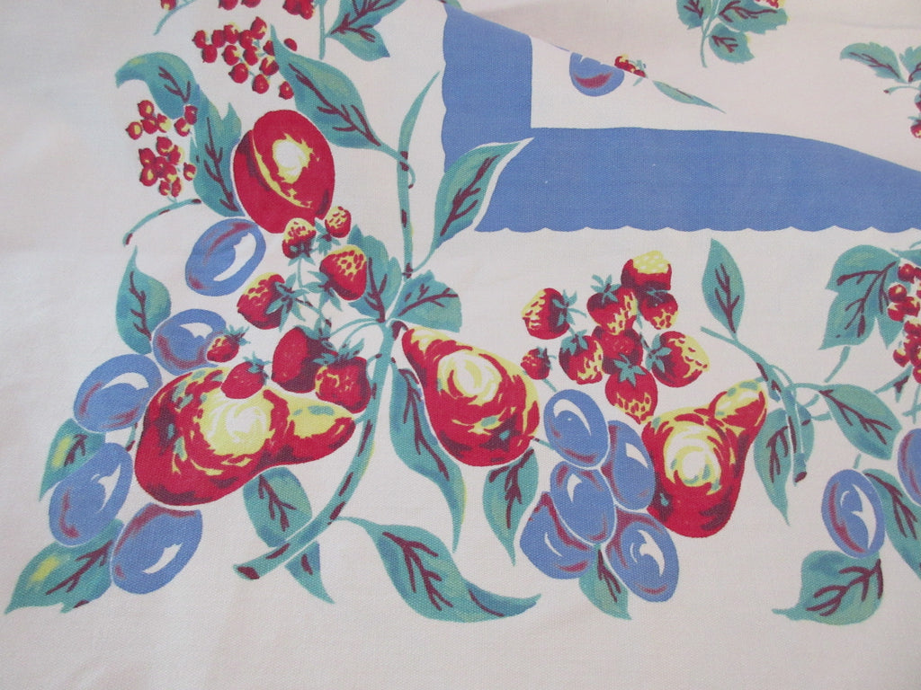 Large Heavy Fruit on Blue Vintage Printed Tablecloth (66 X 58)