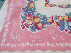 Large Heavy Fruit on Pink Vintage Printed Tablecloth (92 X 58)