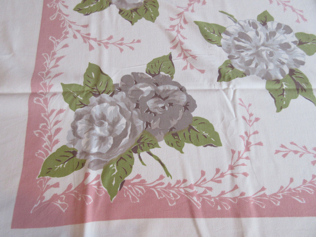 Shabby Taupe Begonias on Pink Floral Vintage Printed Tablecloth (52 X 47)