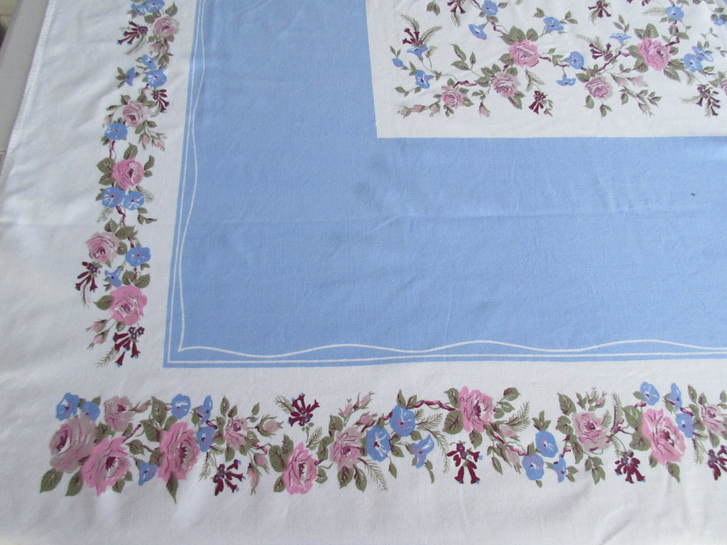 Morning Glories Roses on Blue Floral Vintage Printed Tablecloth (59 X 52)