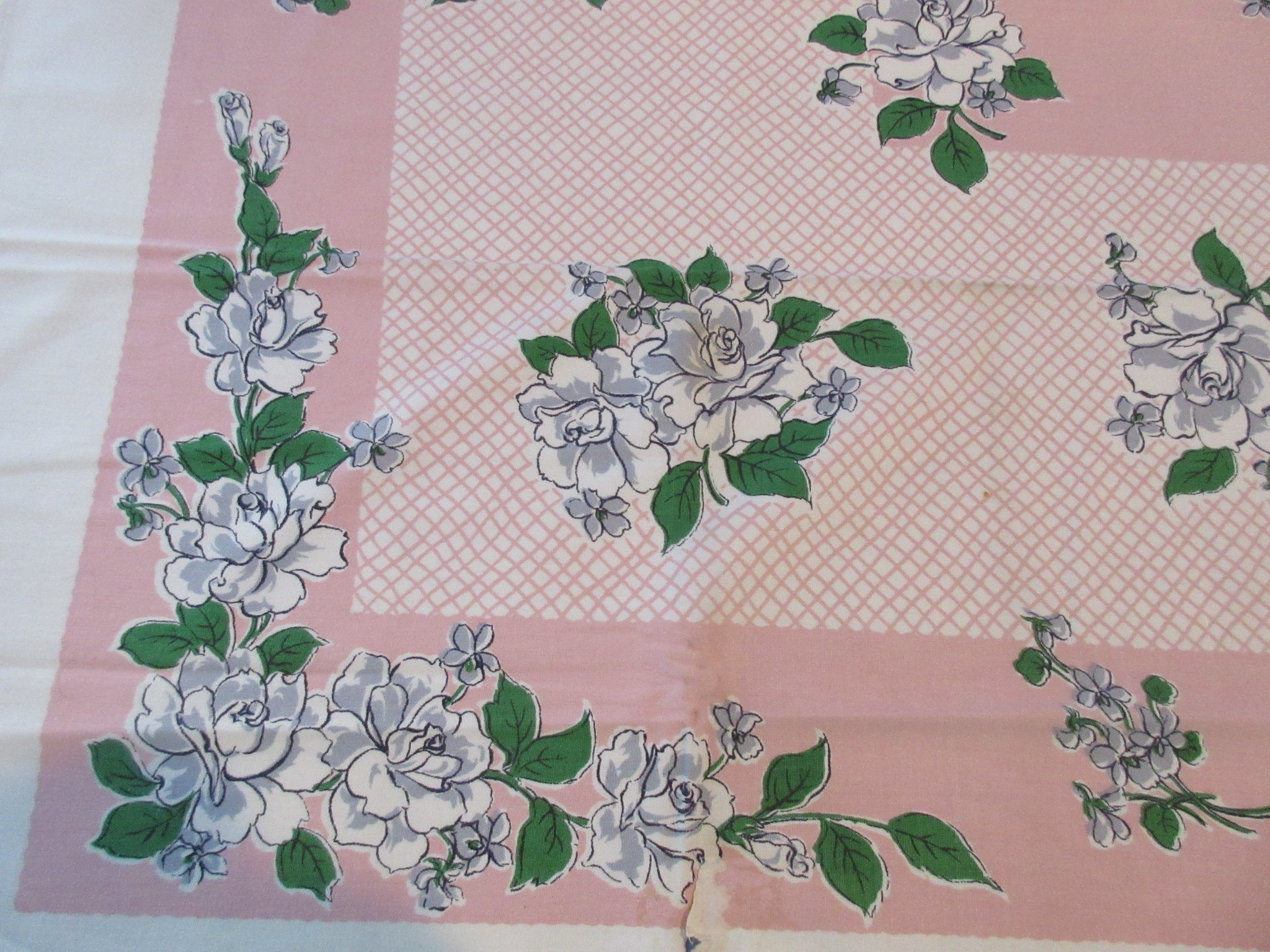 Unwashed Gray Roses on Pink Floral Vintage Printed Tablecloth