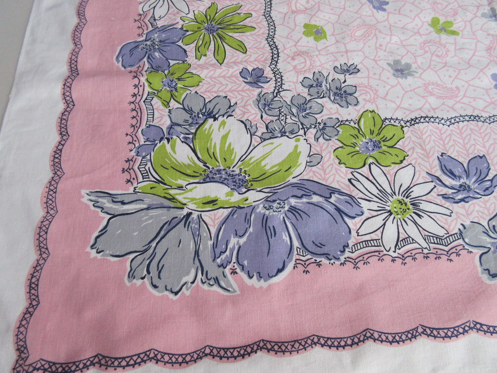 Lime Lavender Daisies on Pink Simtex Floral Vintage Printed Tablecloth (52 X 46)
