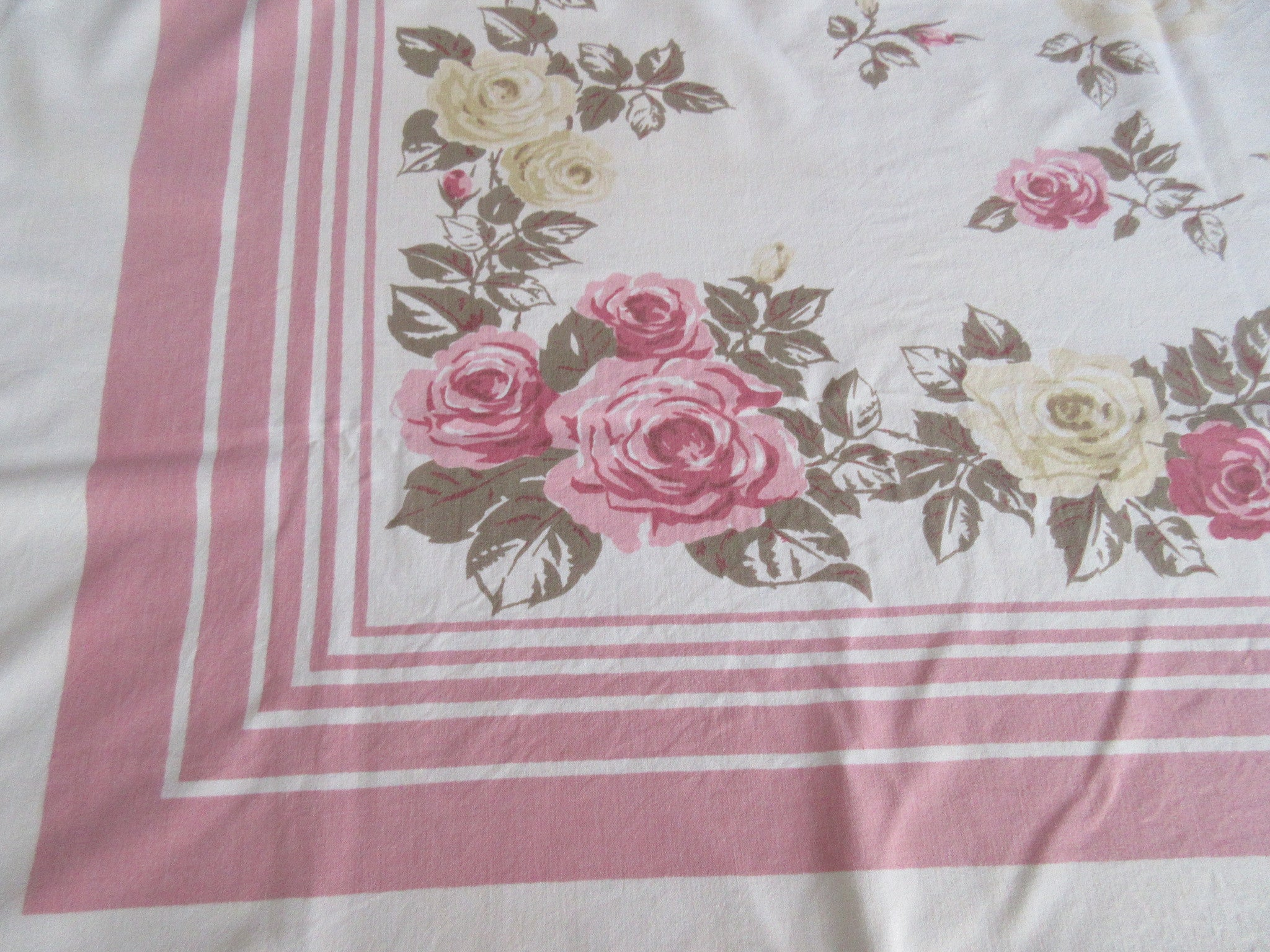 Pink Tan Roses on Pink Cutter?  Floral Vintage Printed Tablecloth (52 X 45)