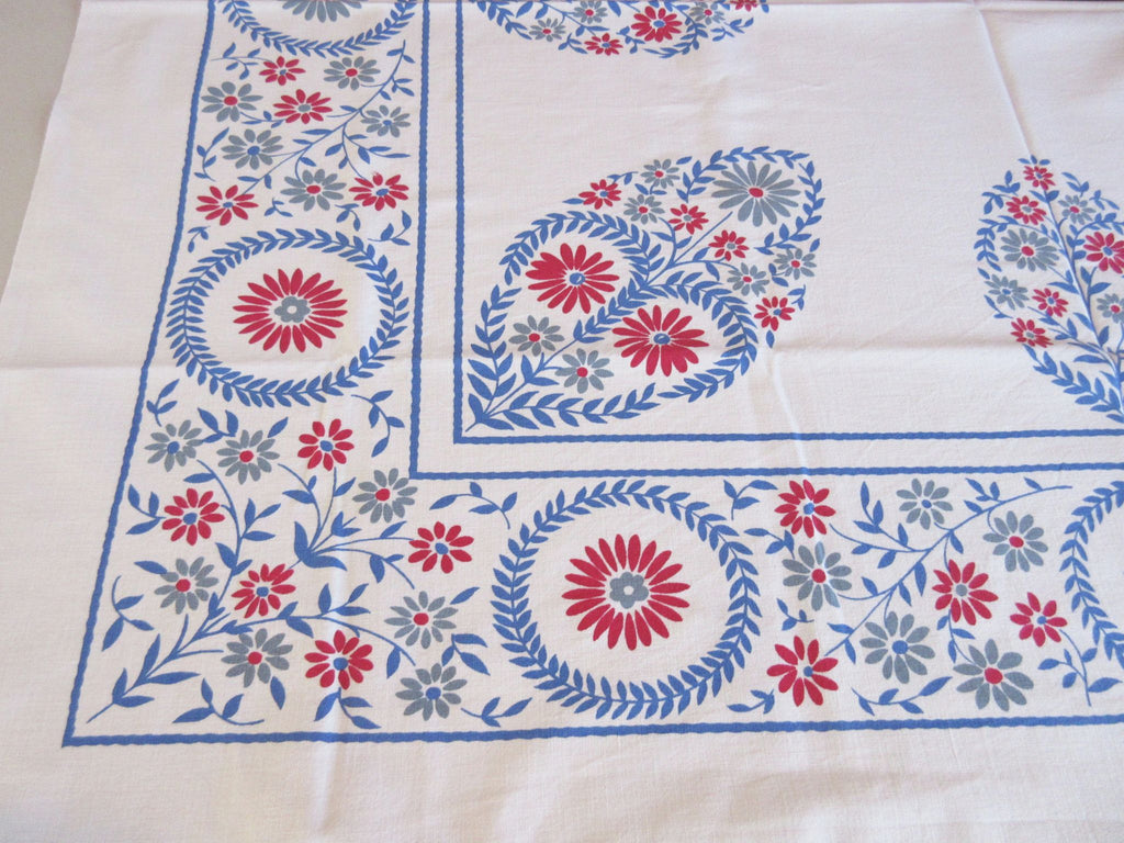 Patriotic Red Blue Gray Colonial Hearts Floral Vintage Printed Tablecloth (51 X 46)