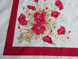 Giant Pink Poppies on Red Early Napkins Floral Vintage Printed Tablecloth (70 X 54)