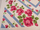Bold Pink Roses on Steel Blue Floral Vintage Printed Tablecloth (51 X 50)