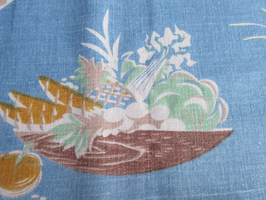 Blue Salad Kitchen Vegetables Linen Novelty Vintage Printed Tablecloth (51 X 48)