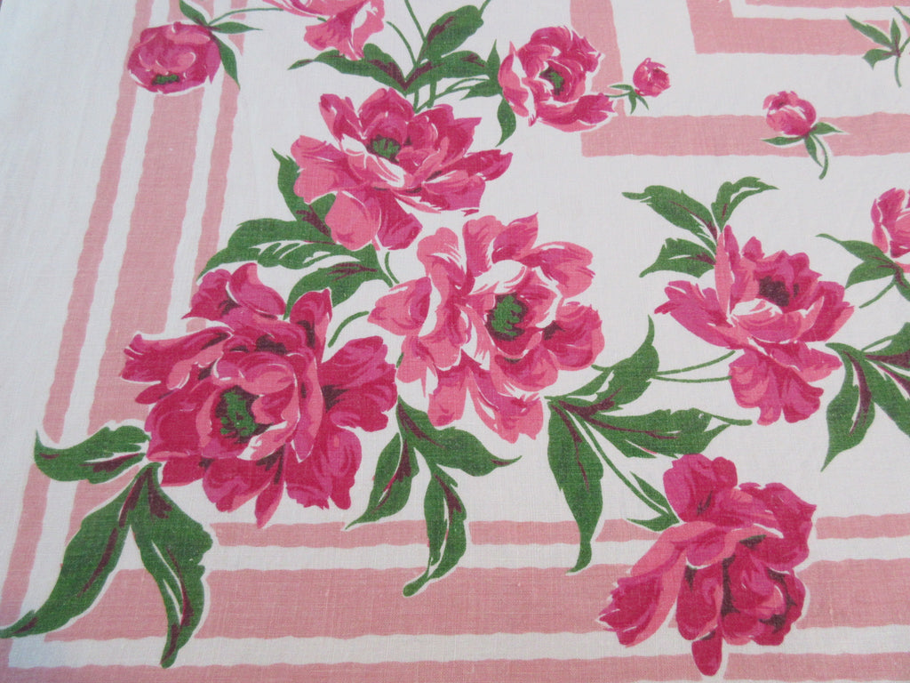 Giant Pink Peonies on Peach Linen Floral Vintage Printed Tablecloth (86 X 57)