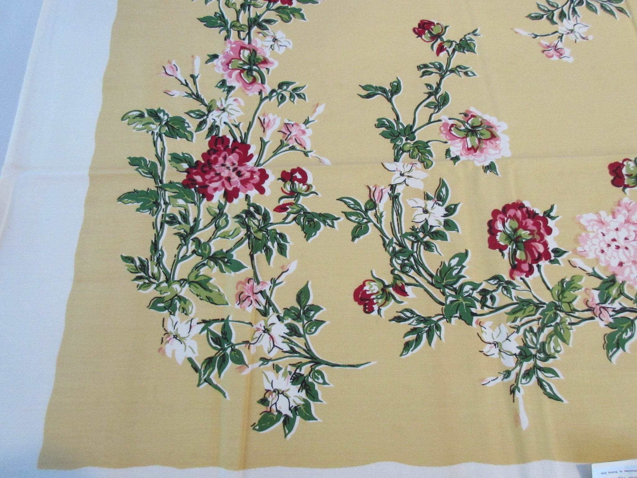 Pink Flowers on Yellow MWT Floral Vintage Printed Tablecloth (51 X 48)