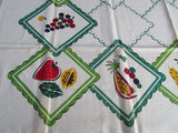 Primary Funky Fruit on Green Cutter? NWT Broderie Vintage Printed Tablecloth (51 X 51)
