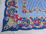 Bright Primary Plaid on Blue Linen Floral Vintage Printed Tablecloth (52 X 48)