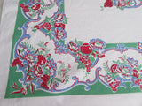 Primary Red Blue Roses Fruit on Green Floral Vintage Printed Tablecloth (50 X 47)