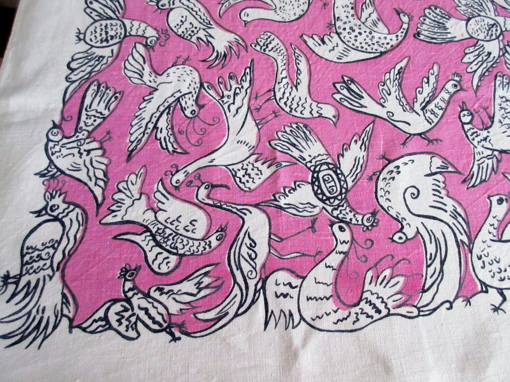 Unusual Black Birds on Pink Linen Novelty Vintage Printed Tablecloth (66 X 51)