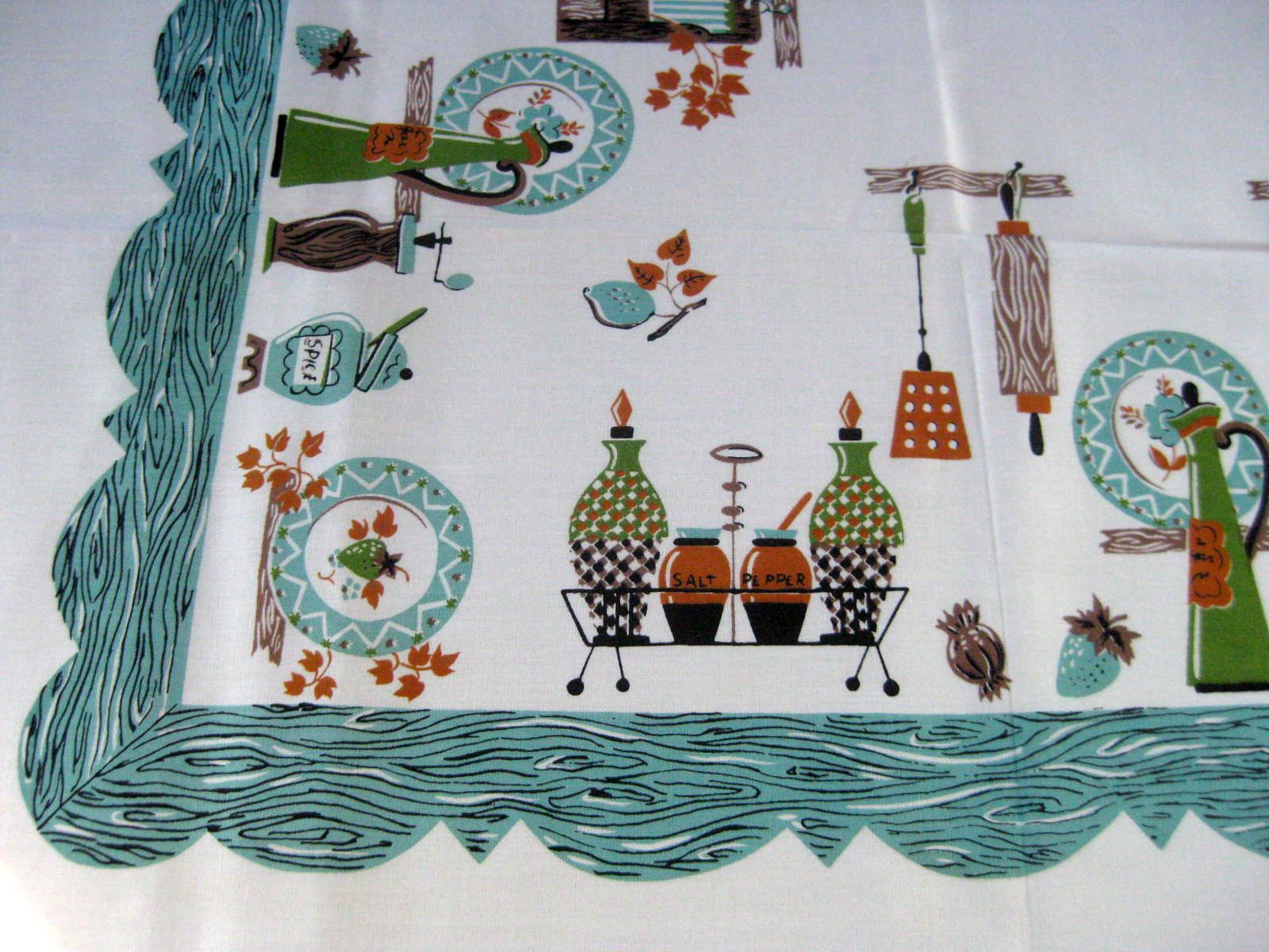 Funky Turquoise Kitchen Novelty MWT Vintage Tablecloth (69 X 52)