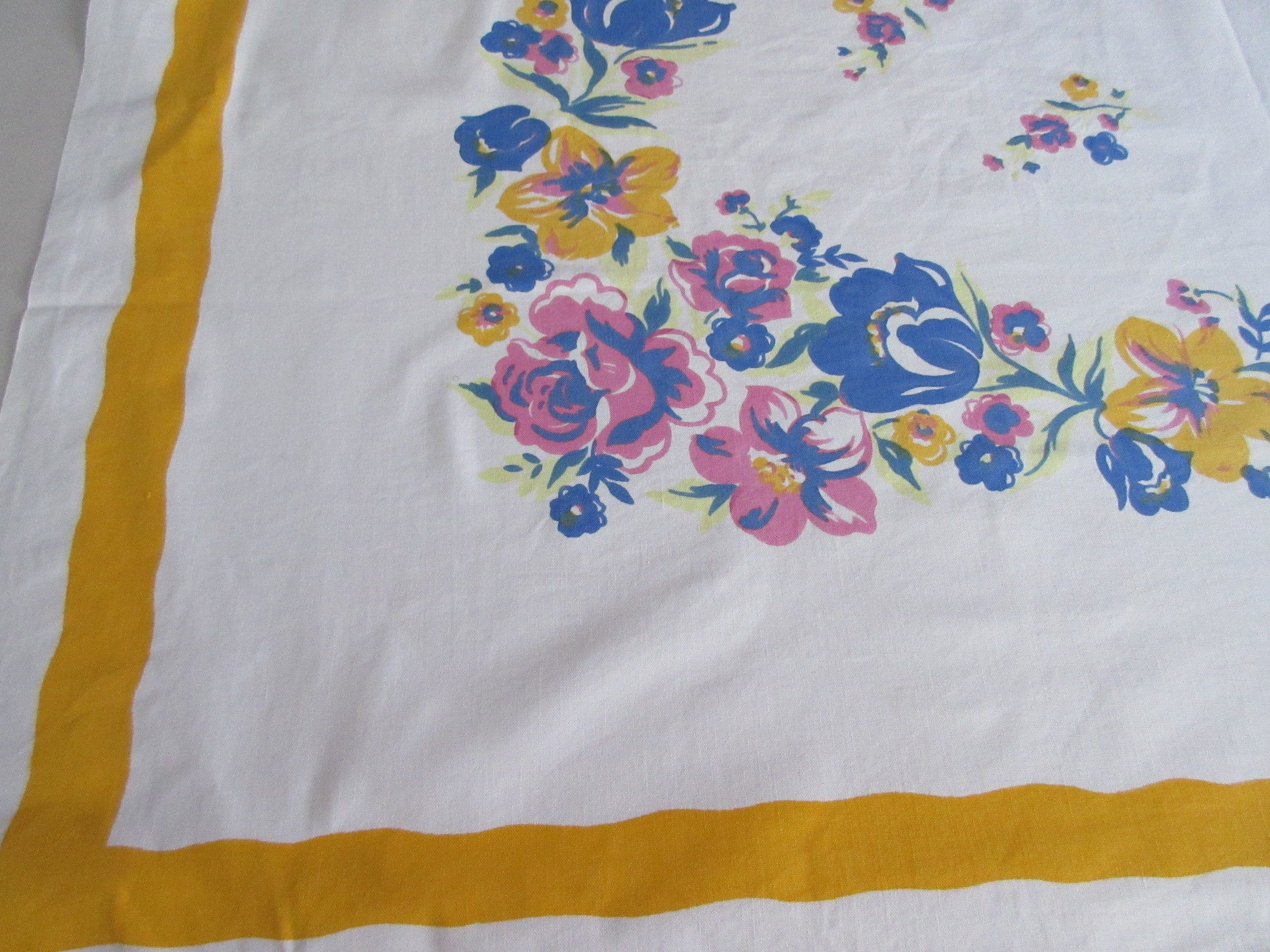 Early Wilendur Pink Blue on Yellow Cutter? Floral Vintage Printed Tablecloth (54 X 50)