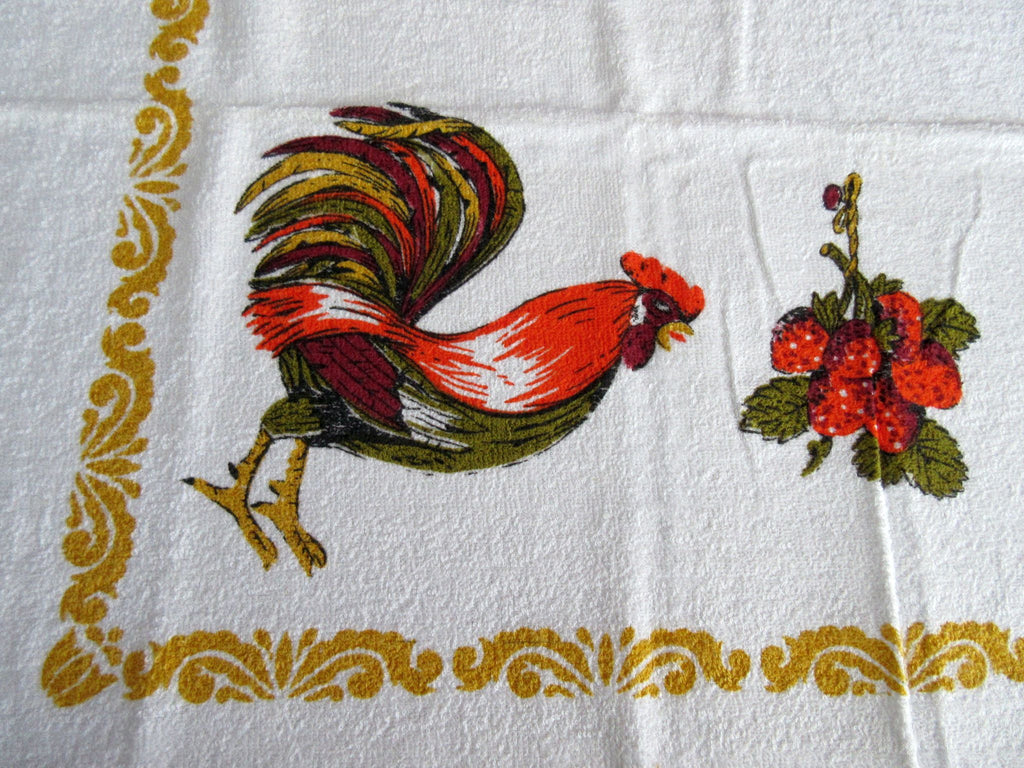 Terry Orange Brown Rooster Strawberries MWT Novelty Vintage Printed Tablecloth (68 X 51)