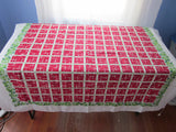 Green Roses on Red Plaid Floral Vintage Printed Tablecloth (53 X 50)