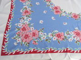 Pink Green Pansies on Blue Floral Vintage Printed Tablecloth (48 X 43)