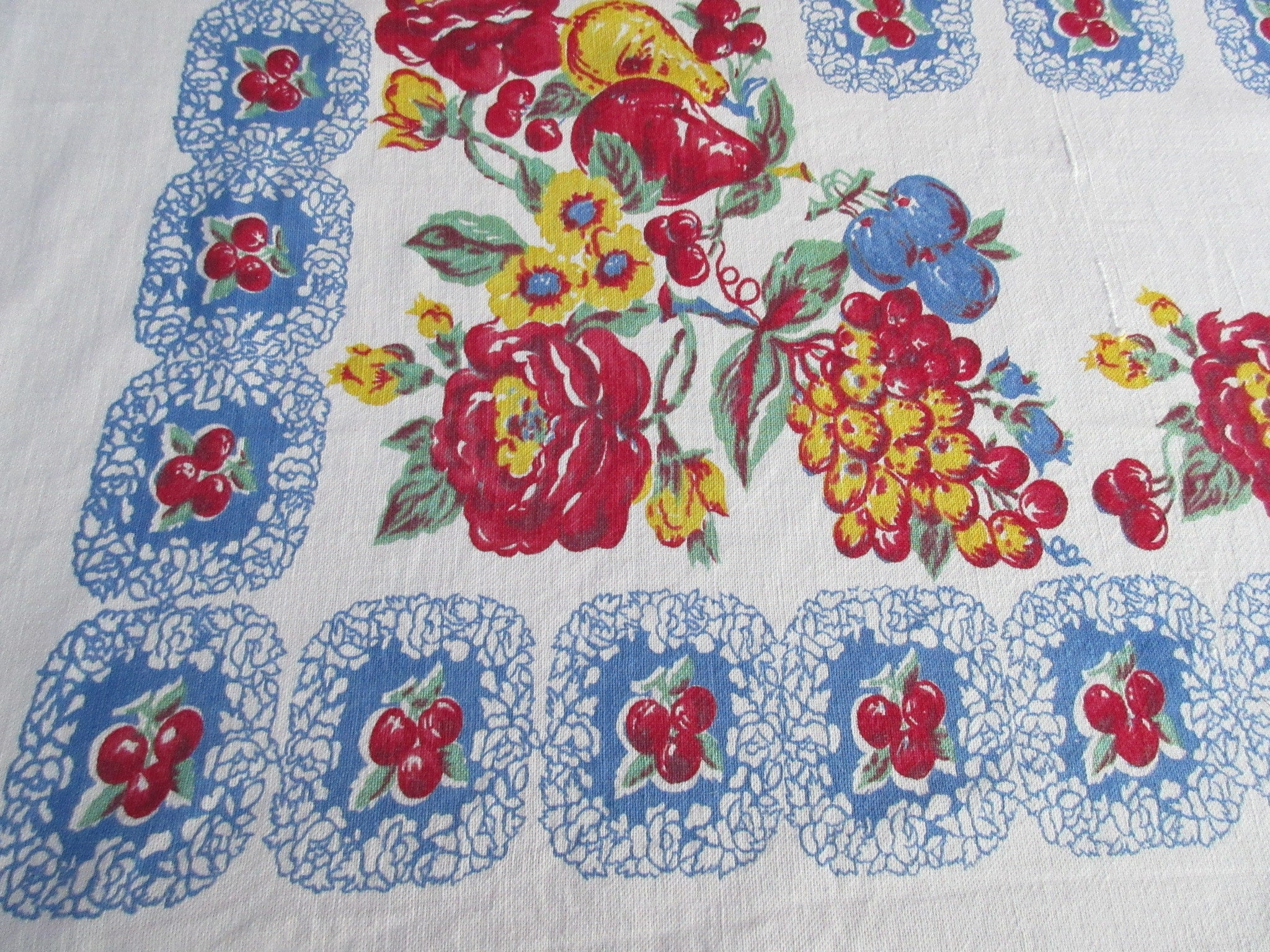Rustic Primary Red Yellow Green Fruit Roses on Blue Vintage Printed Tablecloth (67 X 56)
