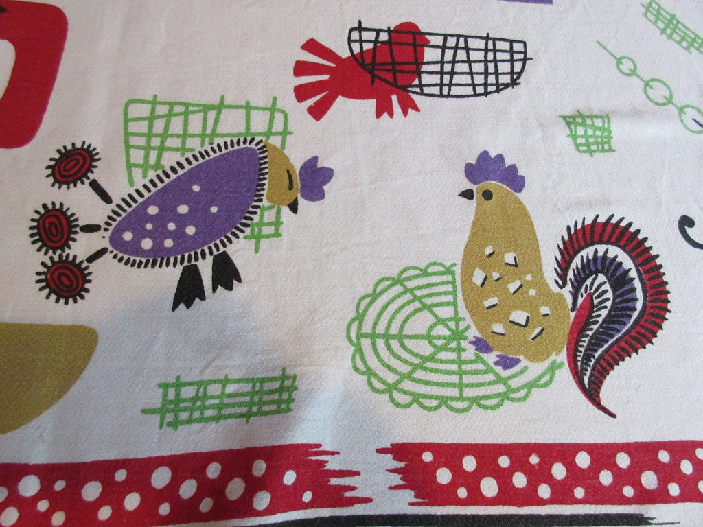 HTF Atomic Chickens Roosters Peacocks Novelty Vintage Printed Tablecloth (46 X 46)