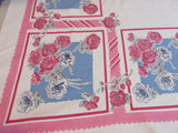 Pink Green Roses Blue Squares Floral Vintage Printed Tablecloth (64 X 50)