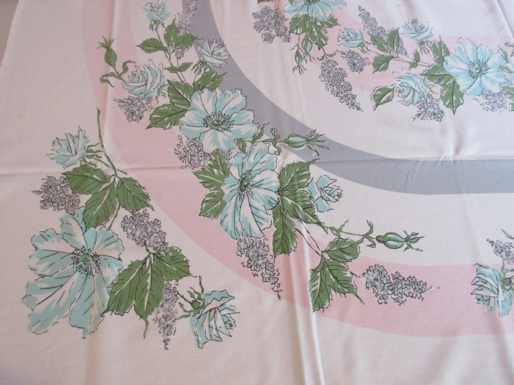 Pink Aqua Gray Roses Ovals Cutter? Floral Vintage Printed Tablecloth (58 X 49)