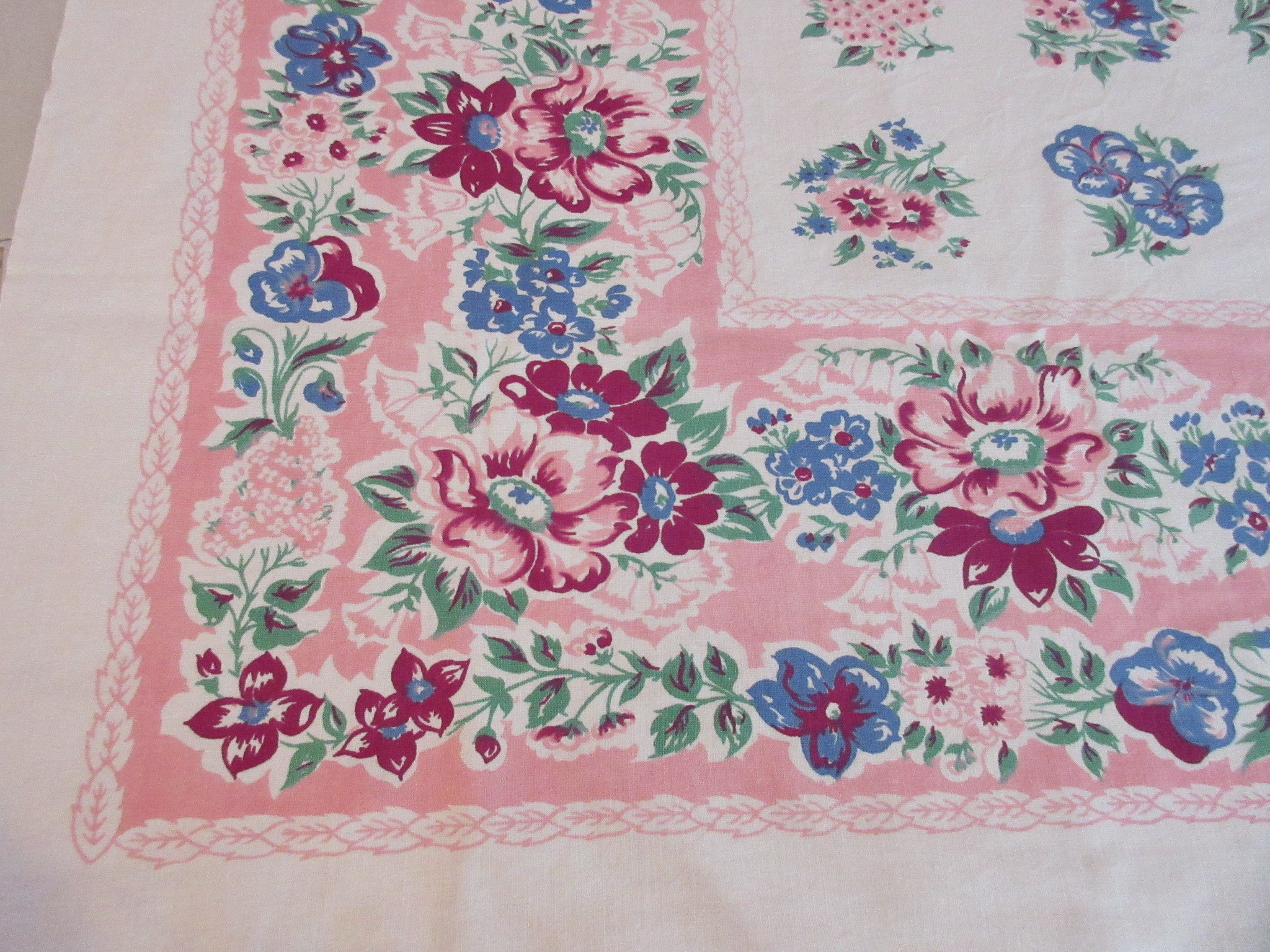 Blue Magenta Peonies on Pink Cutter? Floral Vintage Printed Tablecloth (51 X 45)