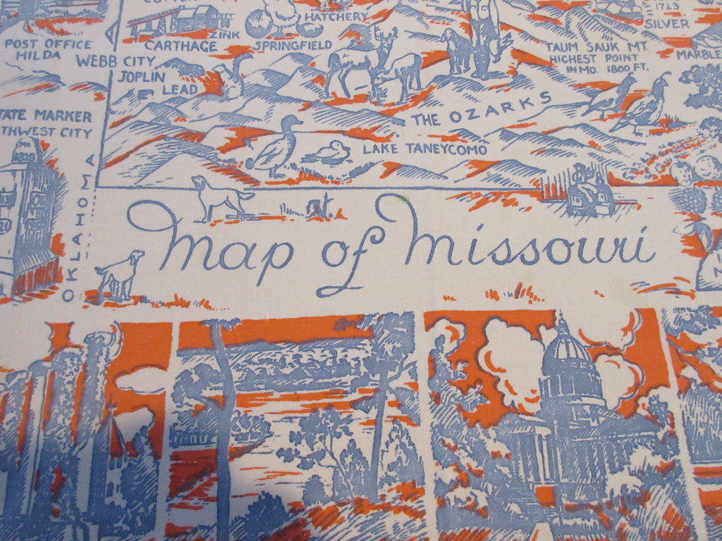 HTF Missouri MO State Souvenir Novelty Vintage Printed Tablecloth (49 X 45)
