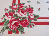Red Green Roses on Red Bars Floral Vintage Printed Tablecloth (50 X 47)