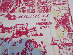 HTF Michigan MI State Souvenir Novelty Vintage Printed Tablecloth (34 X 30)