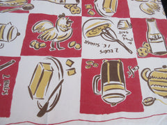 Retro Coffee Rooster Novelty Printed Tablecloth (61 X 54)