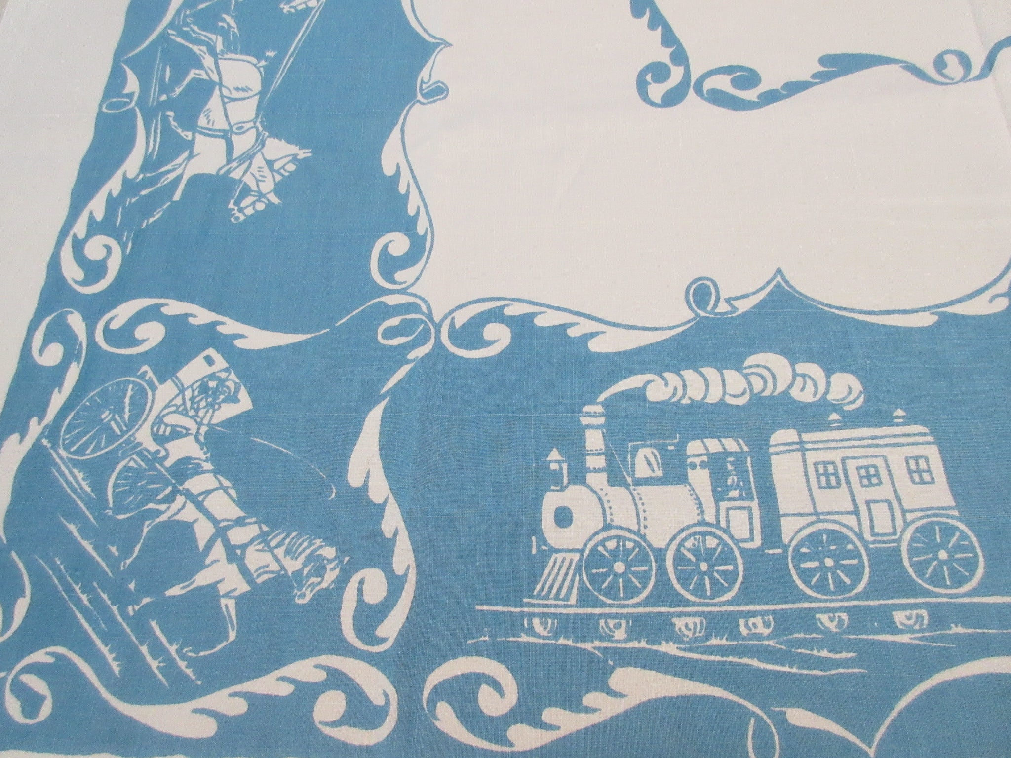 Stagecoaches Sailing Ships on Blue Signed Linen Novelty Vintage Printed Tablecloth (52 X 52)