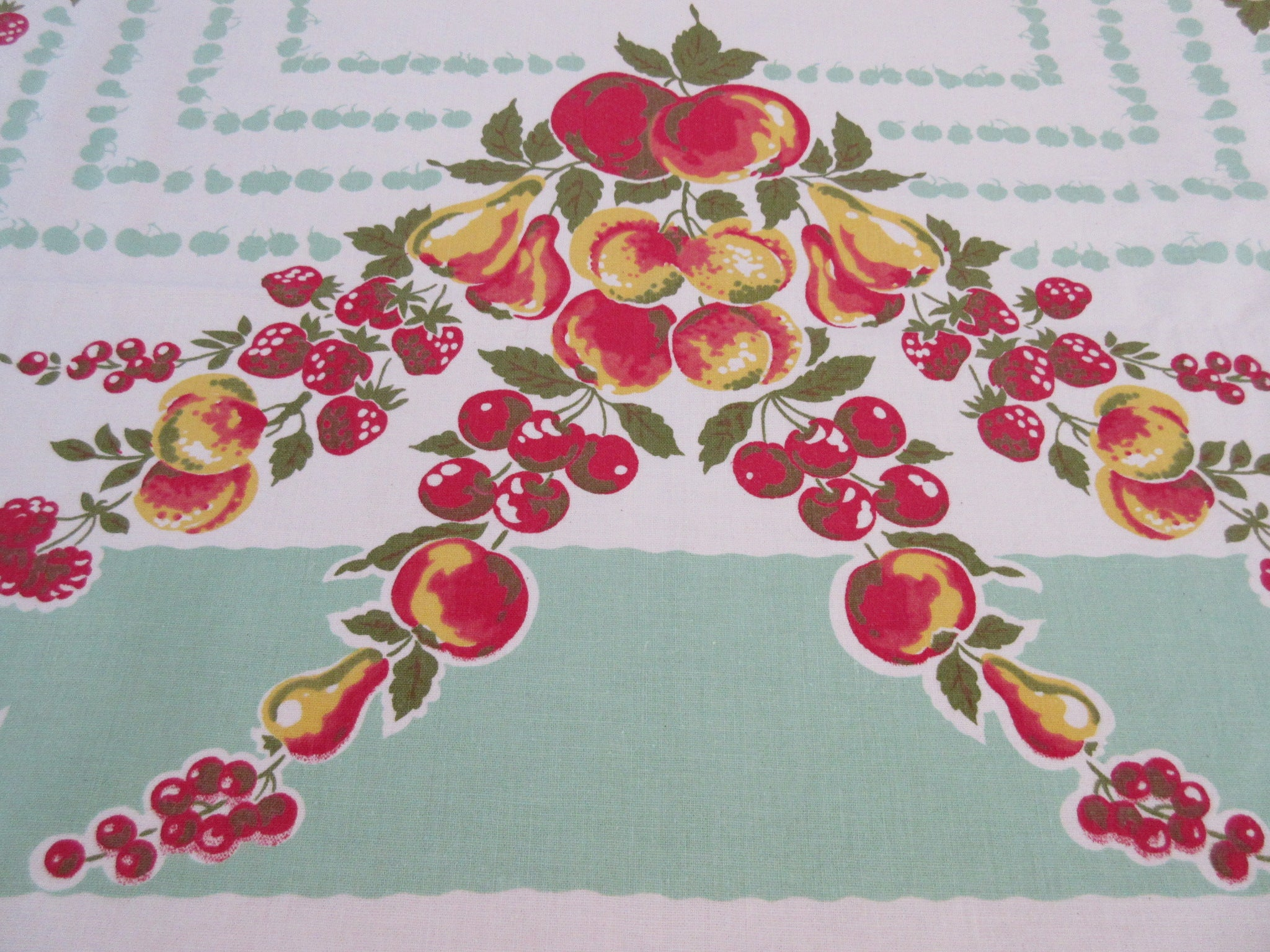 Great Fall Fruit on Jadite Vintage Printed Tablecloth (51 X 47)