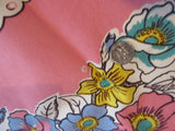 Pastel Blue Yellow Flowers on Pink Cutter? Floral Vintage Printed Tablecloth (50 X 47)