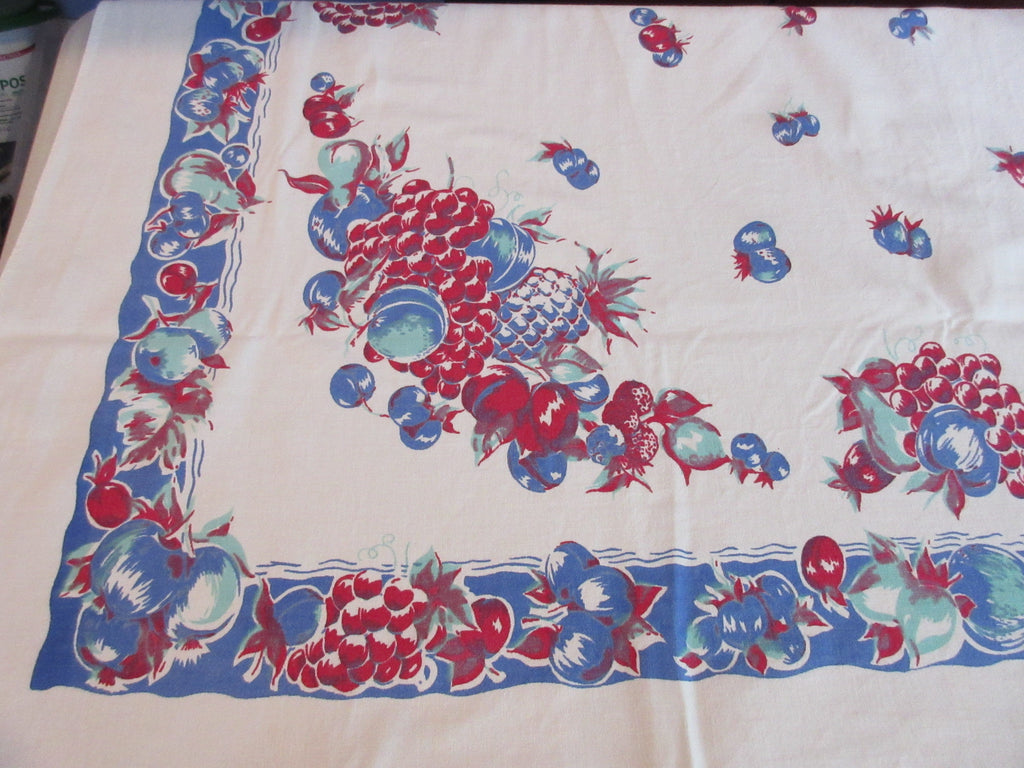 Early Red Blue Jadite Fruit Vintage Printed Tablecloth (62 X 51)