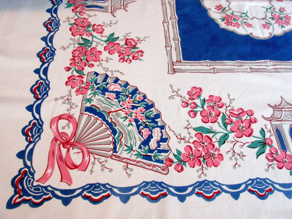 Unusual Oriental Temples Fans on Blue Novelty Vintage Printed Tablecloth (52 X 47)