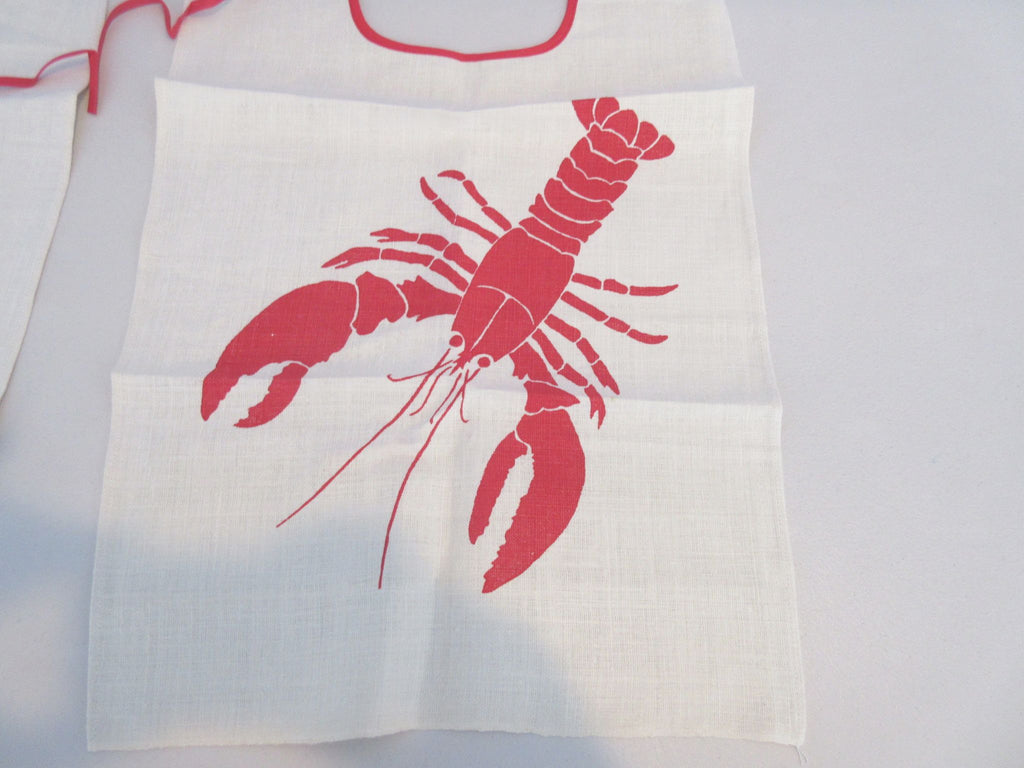 FOUR Unused Lobster Bibs on Linen Novelty Vintage Printed Tablecloth (17 X 13)