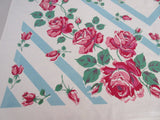 Imperfect Pink Roses on Aqua Bars Floral Vintage Printed Tablecloth (50 X 50)