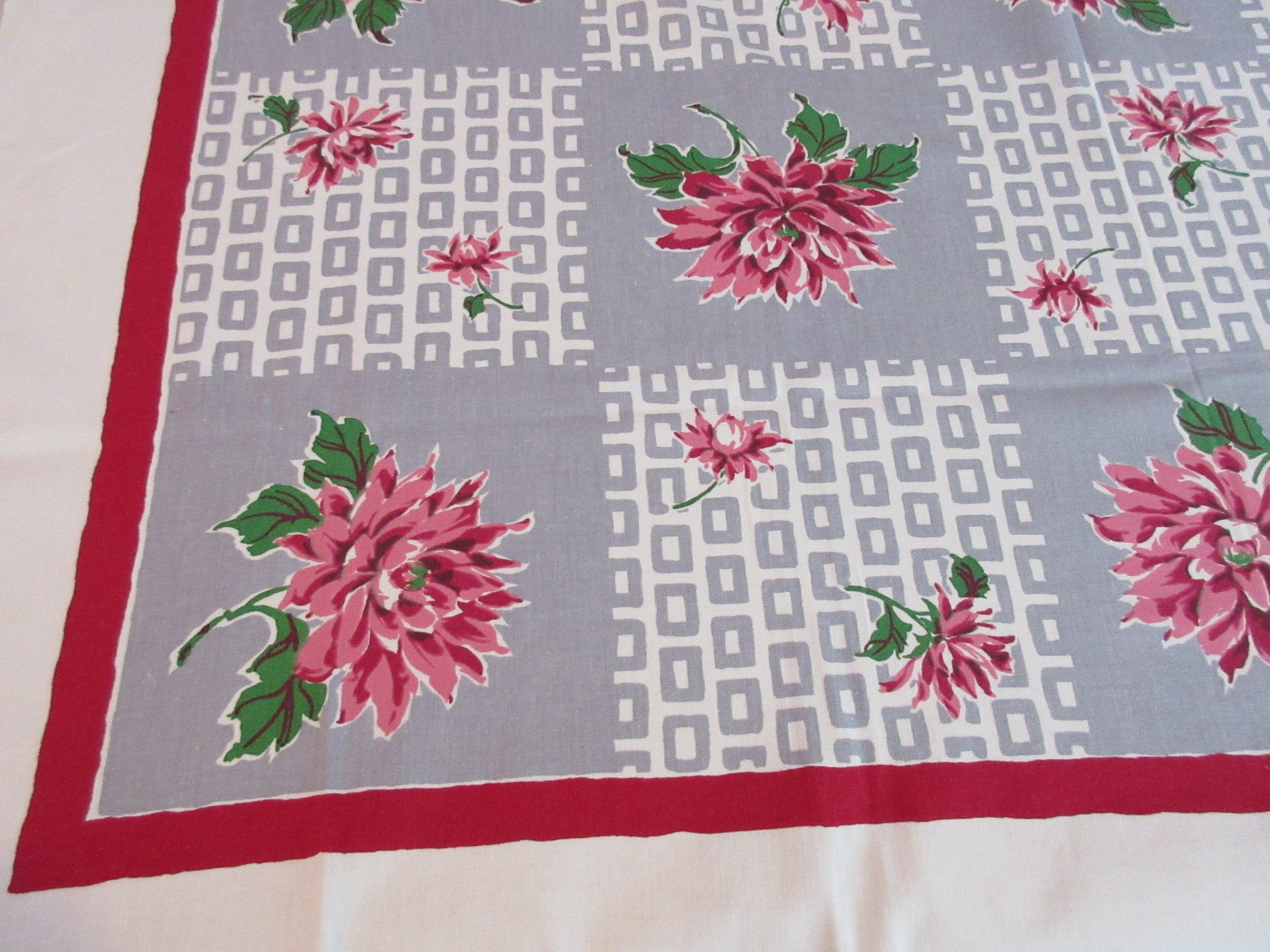 Pink Green Dahlias on Gray Geometric Floral Vintage Printed Tablecloth (50 X 47)
