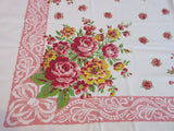 Shabby Pink Green Roses on Pink Floral Vintage Printed Tablecloth (52 X 45)