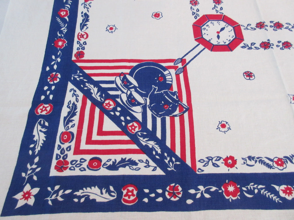 Time For Tea Linen Novelty Vintage Printed Tablecloth (49 X 47)