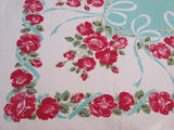 Pink Roses on Aqua Ribbons Floral Vintage Printed Tablecloth (51 X 45)