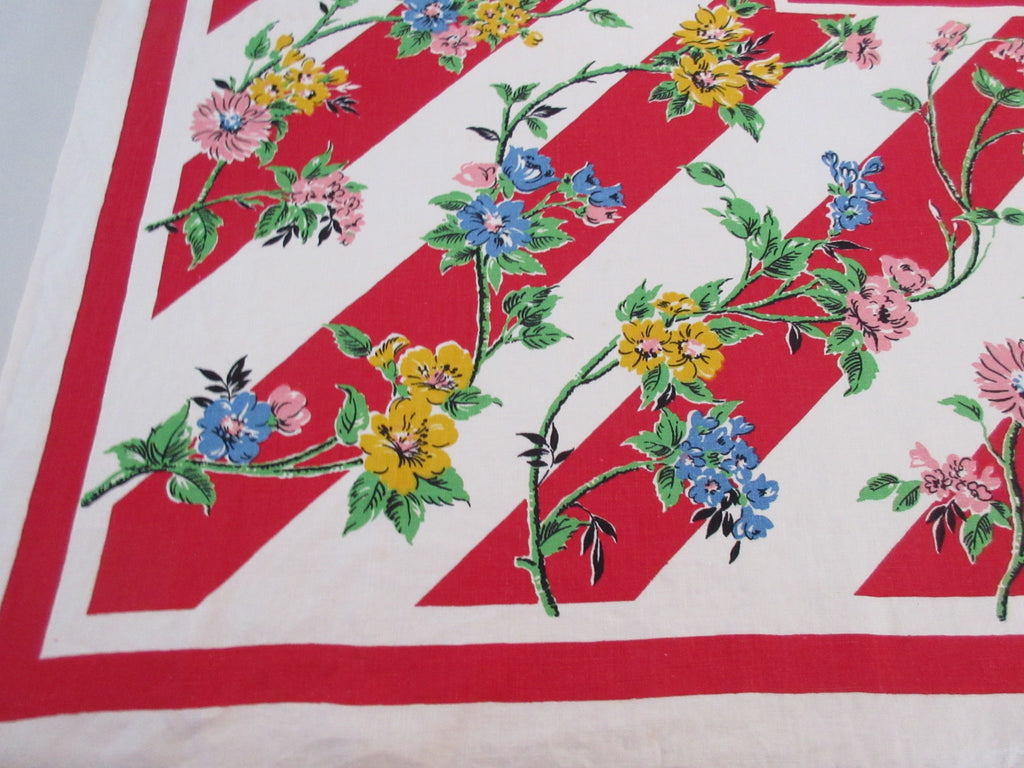 Bright Primary Flowers on Red Diagonals Floral Vintage Printed Tablecloth (50 X 50)