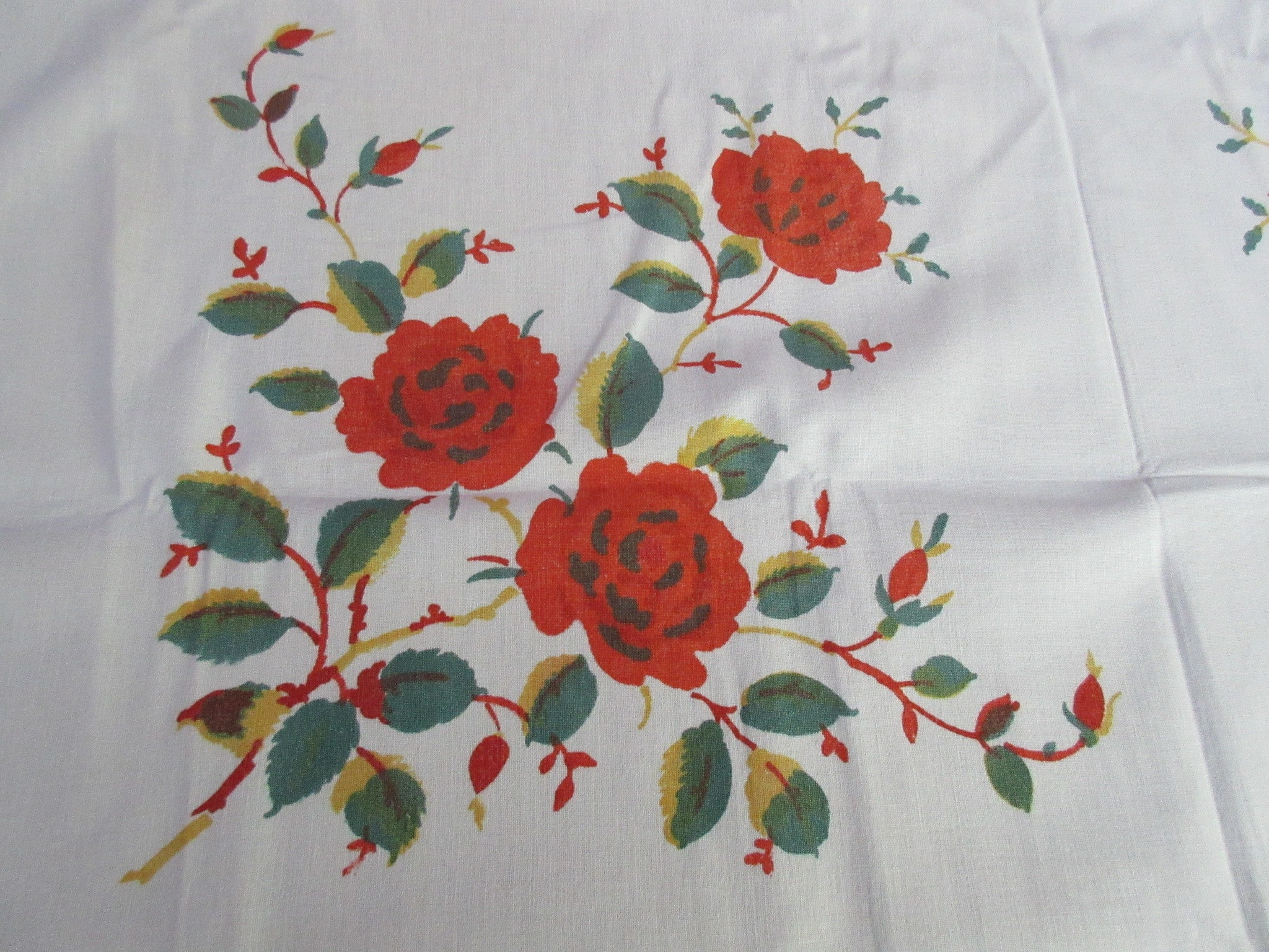 Early Orange Green Chrysanthemums Floral Vintage Printed Tablecloth (47 X 46)