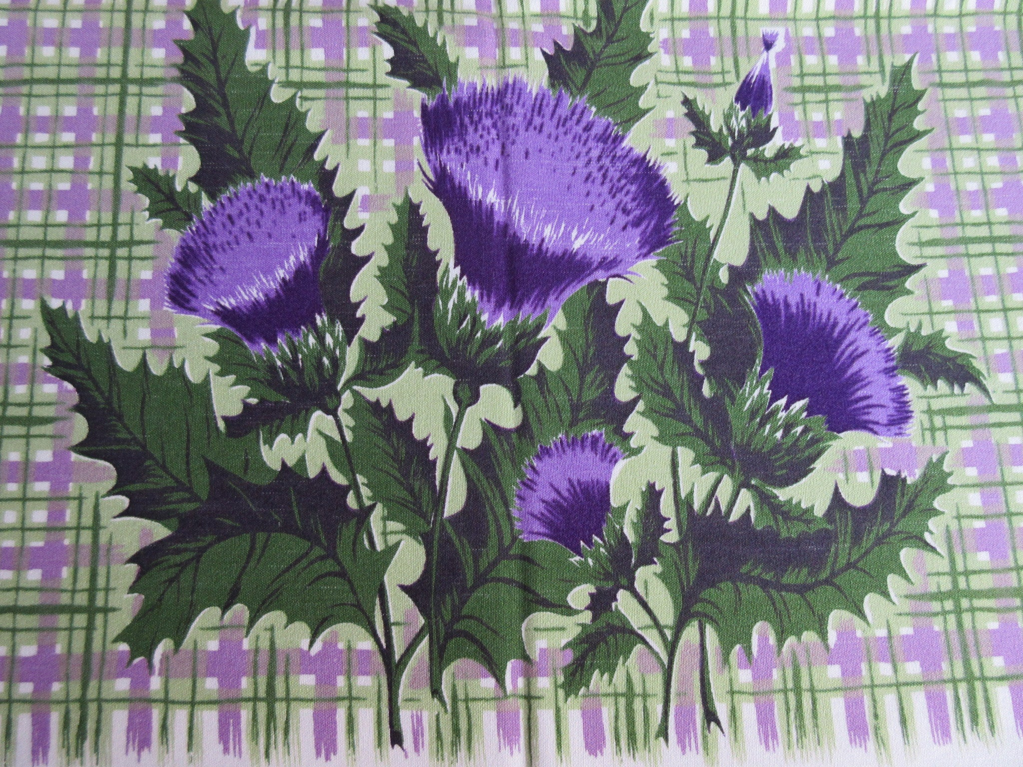 Purple Green Thistle Plaid CHP Floral Vintage Printed Tablecloth (61 X 54)