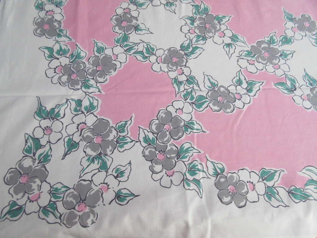 Gray Green Dogwood on Pink Floral Vintage Printed Tablecloth (63 X 48)
