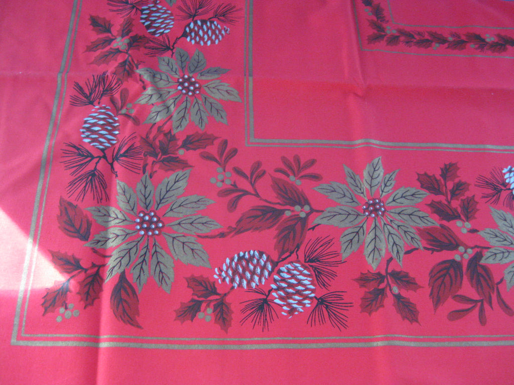 Large Red Gold Poinsettia MWT Vintage Printed Tablecloth (88 X 59)