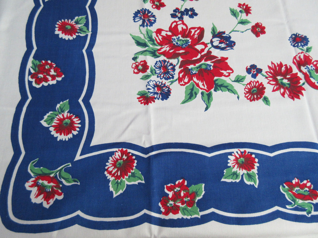 Bright Primary Red Green Roses on Blue Floral Vintage Printed Tablecloth (49 X 48)